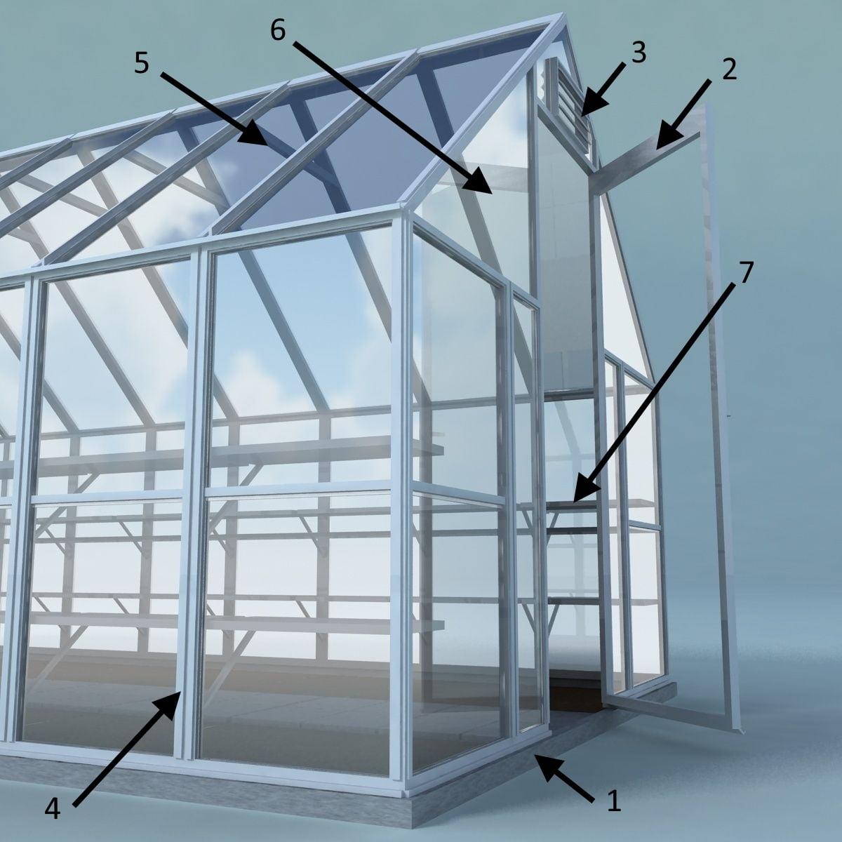 структурная схема теплиц из алюминия