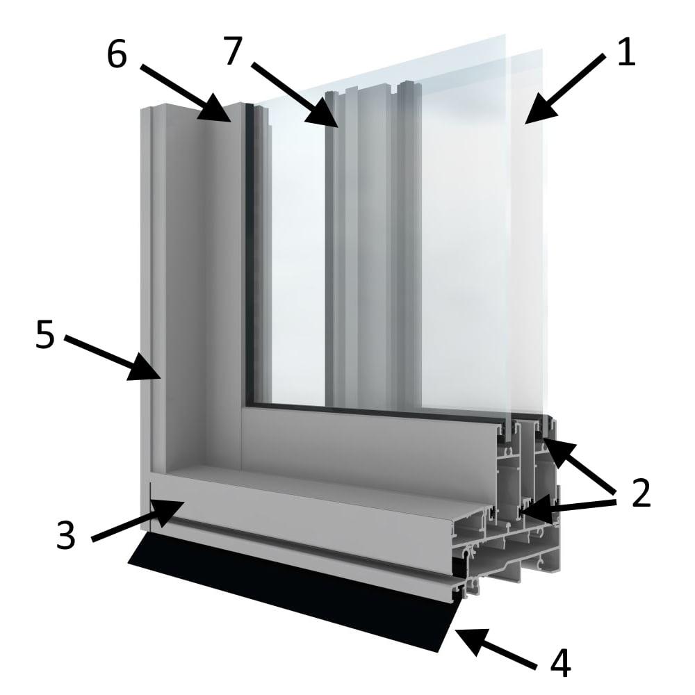 структурная схема раздвижной двери холодного остекления