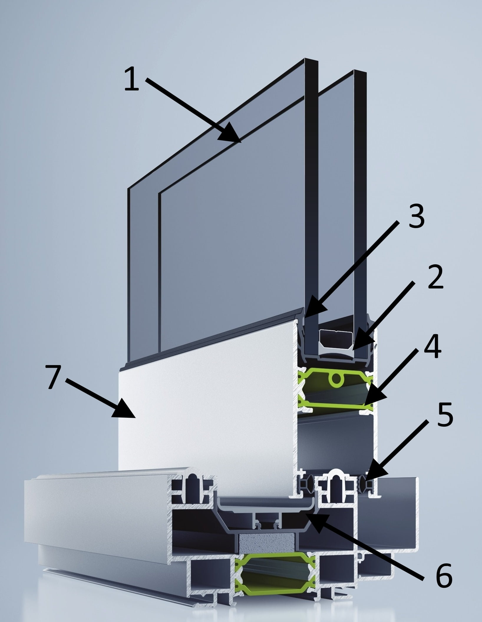 структурная схема раздвижных алюминиевых дверей